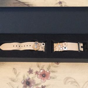 Coach Apple Watch Band w/ Tea Rose Appliqué 38 mm